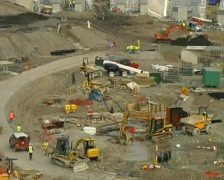 The Eden Project in construction Stock Footage