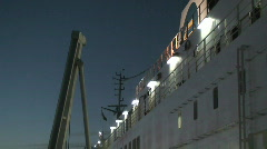 Cruise ship deck at sunrise Stock Footage