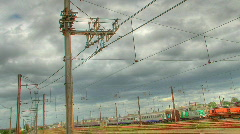 HDR time lapse over train station Stock Footage