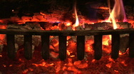 Stock Video Footage of embers glow in a fireplace