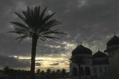 Mosque at Sunset with Palm Tree in Banda Aceh, Indonesia Stock Footage