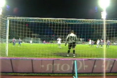 Penalty kick in the soccer (football) game Stock Footage