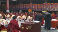 Stock Video Footage of Buddhist monks performing ceremony inside Jokhang Temple Tibet