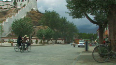 Road outside Potala in Lhasa, Tibet Stock Footage