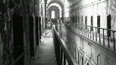 Eastern State Penitentiary two floors cellblock Stock Footage