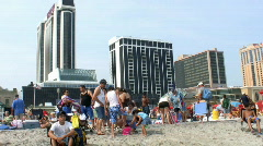 Atlantic city pan of beach Stock Footage