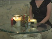 Woman with Candles Stock Footage