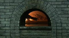 Stock Video Footage of Two clips wood pizza oven and boxed pizza