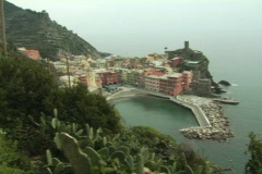 Vernazza from trail Stock Footage