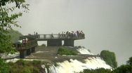 Stock Video Footage of HD: Iguazu Falls with visitors on a viewpoint - Part 3