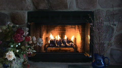 fireplace and flowers - stock footage