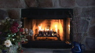 Stock Video Footage of fireplace and flowers