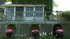 Summer house with flower pots Stock Footage