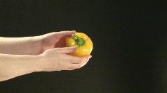 Studio shot of  washing Peppers  Stock Footage