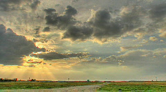 HDR time lapse of sunset over airport Stock Footage
