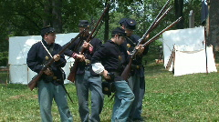 Loading the musket for an American Civil War exhibit Stock Footage