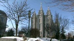 Mormon Temple SLC blue sky slow pan rt HD Stock Footage
