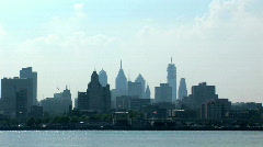 Philadelphia skyline from New Jersey shore 3 of 3 Stock Footage