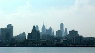 Stock Video Footage of Philadelphia skyline from New Jersey shore 3 of 3