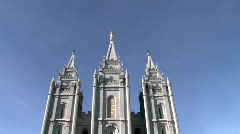 Mormon Temple SLC blue sky pan down reflection HD Stock Footage