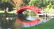 Japanese footbridge Stock Footage