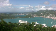 Cruise ships docked in St Thomas Stock Footage