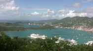 Stock Video Footage of Cruise ships docked in St Thomas