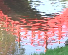 Water reflection of a footbridge Stock Footage