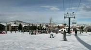 Stock Video Footage of Park City Utah ski slope and lifts down snow 25p HD