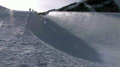 Park City Utah snow half pipe 24p HD Stock Footage