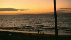 Family on the Maui Beach at sunset Stock Footage