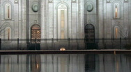 LDS Temple night reflection pool HD Stock Footage