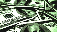 100 dollar bills (green pile) Stock Footage