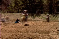 Motocross Race Whoops Depth Shot Stock Footage