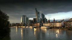 dark clouds over Frankfurt Germany Skyline - stock footage