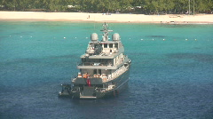 Luxury yacht near island Stock Footage