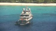 Luxury yacht near island Stock Footage