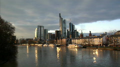 Frankfurt Germany Skyline wide Stock Footage