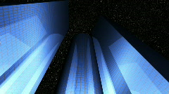 Night glass Buildings Advanced reflection(Final) - stock footage