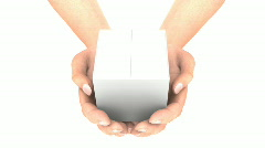 Hands with White Box. Zoom  - stock footage