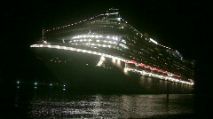 Night view of cruise ship Stock Footage