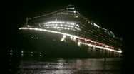 Stock Video Footage of Night view of cruise ship
