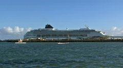 Maui Kahulia cruise ship and outrigger padding Hawaii HD - stock footage