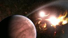 Alien planet (twin suns) Stock Footage