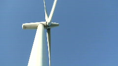 View to wind power electric station blades from ground Stock Footage