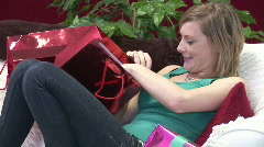 Woman with shopping bags Stock Footage