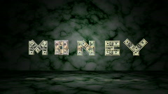 "U.S. Bills Spelling ""MONEY"" (Loopable) Stock Footage"