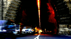 Tunnel night drive lights road travel Stock Footage