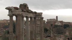 Giant Pillars at Roman Forum Stock Footage
