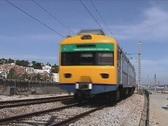 Passenger train passing Stock Footage